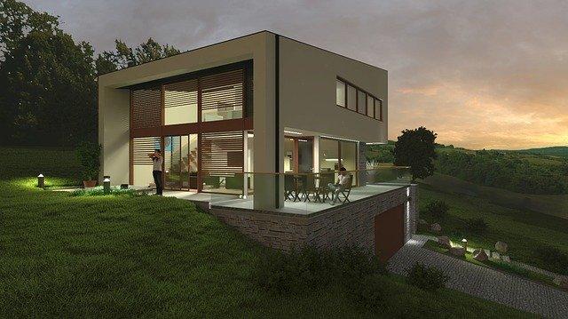 moderní dům, zahrada